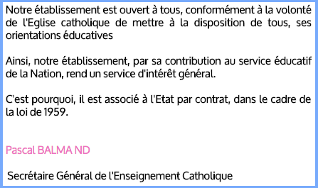 Projet éducatif Pascal Balmand