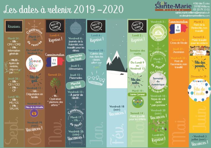 Les dates à retenir 2019-2020